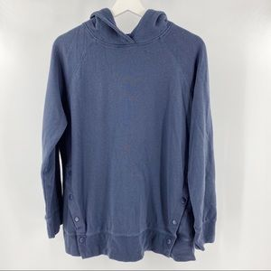 Dex blue pullover hoodie with side button detail